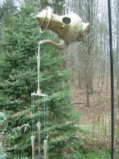 Wind Chimes and Gold Teapot Birdhouse Very by Birdhousesandbuds