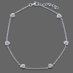 Sterling Silver Heart Anklet Ankle Bracelet in Cubic Zirconia CZ from Berricle - Price: $46.99