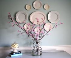 Love the Plate Arrangement on the Wall - Tissue Paper Flower Project