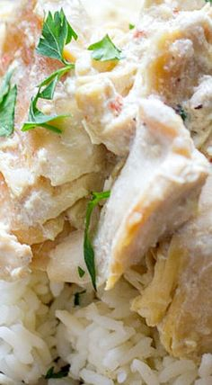 Easy Creamy Crockpot Chicken and Rice