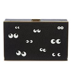 ANYA HINDMARCH Imperial nocturnal grained-leatherbox clutch (Black