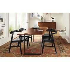 Modern Dining Room Furniture Sets with Black Metal Dining Chairs and Wooden Dining Table Walnut Dining Table, Wooden Dining Tables, Modern Dining Table, Slab Table, Dinning Table, Modern Chairs, Dining Set, Wood Slab Dining Table, Timber Table
