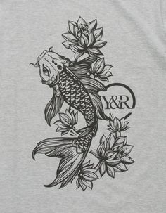 Koi fish graphic screened on front. Front Thigh Tattoos, Side Thigh Tattoos Women, Half Sleeve Tattoos Forearm, Torso Tattoos, Hip Tattoos Women, Tattoos For Women Half Sleeve, Arm Tattoos For Guys, Tattoo Thigh, Men Tattoos