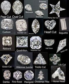 Round This is by far the most popular shape of diamond and has been around for hundreds of years. The diamond cutters have been working wi. Types Of Diamond Cuts, Types Of Diamonds, Diamond Shapes, Diamond Cut Chart, Different Diamond Cuts, Bijoux Design, Schmuck Design, Diamond Rings, Diamond Jewelry