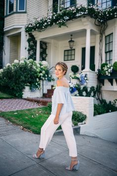 """Gal Meets Glam White Summer Trousers - Urban Outfitters top, Helmet Lang pants, Schutz heels, Gucci bag, and Laura Mercier lipstick in """"French Kiss"""""""