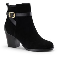 C. Wonder Buckled Suede Moto Ankle Boot ❤ liked on Polyvore featuring shoes, boots, ankle booties, black, suede booties, black suede ankle booties, black motorcycle boots, black studded booties and black buckle booties