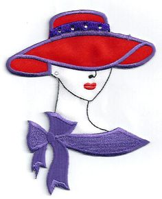 """RED HAT FASHION LADY (3  7/8""""W ~ 9.8cm) EMBROIDERED IRON ON APPLIQUE PATCH"""
