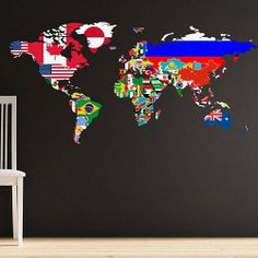 Printed world map wall sticker the danger zone pinterest flags of the world map wall sticker publicscrutiny Choice Image