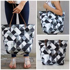 Geometric Tote using V and Co.Ombre Gradient fabrics with Moda Fabric