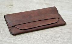 Portefeuille long de Vintage Brown cuir par PairOfHandsLeather