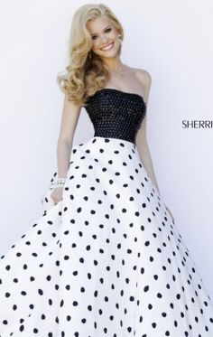 Strapless Polka Dot Gown by Sherri Hill 32186