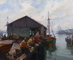 Emile Group (1896 - 1978) Smelt Fisherman, Gloucester Harbor. Oil on canvas.