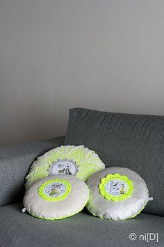 crochet neon pillows
