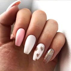 12 Super Cute DIY Nail Designs - valentines-day-diy-manicure-ideas-golden-heart-tips-min - Valentine's Day Nail Designs, Simple Nail Designs, Acrylic Nail Designs, Unicorn Nails Designs, Heart Nail Designs, Cute Acrylic Nails, Cute Nails, Pretty Nails, Glitter Nails