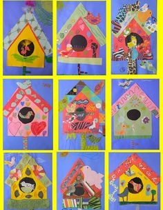 Funky birdhouses - many collage ideas on this one Spring Art Projects, School Art Projects, Spring Crafts, Kindergarten Art, Preschool Crafts, Crafts For Kids, Ecole Art, Art Lessons Elementary, Art Lesson Plans