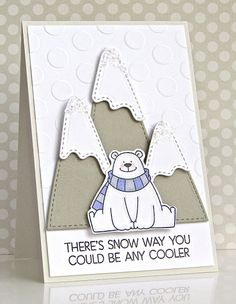 card critters bears winter christmas MFT Polar bear pals Die-namics #mftstamps peek a boo jumbo polka dots cover up