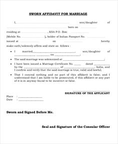 Marriage affidavit form affidavit forms pinterest sworn affidavit form for marriage thecheapjerseys Choice Image