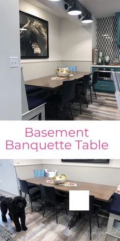 Banquette Table in the Basement! - Jennifer Allwood Home Small House Decorating, Decorating Tips, Banquette Table, Basement Remodeling, Basement Ideas, Entry Tables, Basement Kitchen, Nebraska Furniture Mart, Diy Home Decor