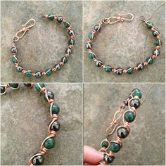 African Turquoise Wire Wrapped Copper Bangle