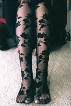 underwear tights floral see through flowers black stocking stockings pants grunge goth hipster style alternative pretty Outfit Designer, Floral Tights, Patterned Tights, Lace Tights, Ripped Tights, Ripped Jeans, Floral Lace, Looks Style, Style Me