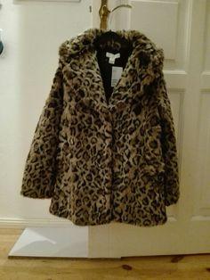 Faux-Fur Mante,l Leopardenmuster,H