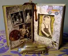Altered book ..a present for my husband on his birthday. Please notice his favorite metal  toy car also on images.)