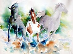 Watercolor Horse Paintings by Anne Michelsen, via Behance