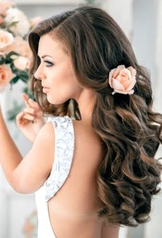 Bride's side part gorgeous long downcurls  wedding hairstyle  bridal hair Toni Kami Wedding Hairstyles ♥ ❷ Wedding hairstyle ideas   Beautiful wedding photography