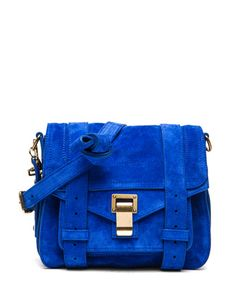 The color! Proenza Schouler PS1 Suede Pouch in Royal Blue