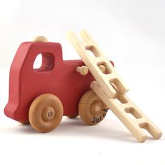 Firetruck Toy  Personalized Wooden Toy Fire Engine  by hcwoodcraft