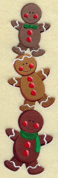 gingerbread Stack design -- perfect for the holidays on the front of an apron or on a sweatshirt front.