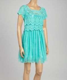 Another great find on #zulily! Mint Embroidered Chiffon A-Line Dress by N.D.W. Fashion #zulilyfinds