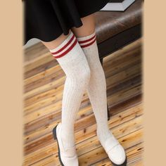 [leggycozy] Japanese Two Bars Print Glitter Thigh High Thick Stockings Stocking Pattern, Thigh Highs, Thighs, Stockings, Glitter, Japanese, Clothes, Women, Style