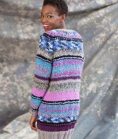 Long Striped Cardigan Free Knitting Pattern in Red Heart Mixology Yarns