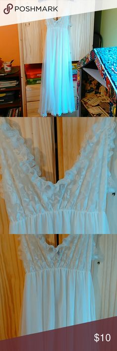 Pretty white lace dress slip Can be worn as actual dress instead of slip. I actually wore it to a Renaissance faire! Lol. Good condition. If worn alone, needs slip underneath despite being layered. Barely worn. No tag. Fits like a small-medium size. Intimates & Sleepwear Chemises & Slips
