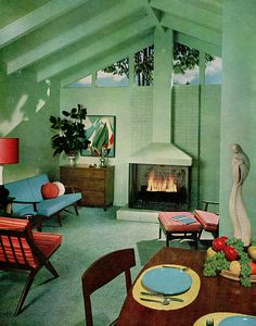 Cozy! Sherwin William Home Decorator 1959 [sixties vintage mid century modern fireplace]