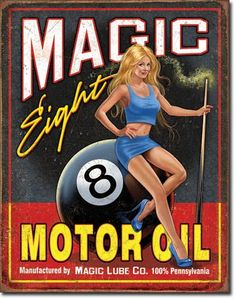 Vintage Style Tin Sign, Magic 8 motor oil, man cave, USA, garage decor, wall hanging