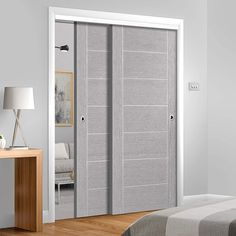 Thruslide Palermo Light Grey Flush - 2 Sliding Doors and Frame Kit - Prefinished - Lifestyle Image. #slidingdoors #painteddoors