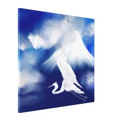 An original digital painting of Mt. Fuji & a flying Egret -  Wrapped Canvas Print