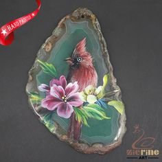 HAND PAINTED RED BIRDS GEMSTONE FASHION NECKLACE PENDANT BEAD A1703 0061 #ZL #PENDANT