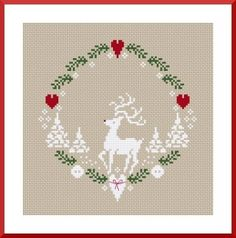 christmas xmas winter reindeer heart wreath free cross stitch pattern, thanks so… Xmas Cross Stitch, Cross Stitch Love, Cross Stitch Charts, Cross Stitch Designs, Cross Stitching, Cross Stitch Embroidery, Cross Stitch Patterns Free Christmas, Cross Stitch Freebies, Noel Christmas