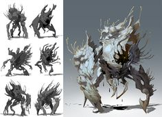 Creature development for an internal R&D project. The project was a fantasy adventure game centered around cooperative combat and driven by story. Monster Characters, Team Fortress 2, Creature Concept, Dota 2, Game Art, Concept Art, Moose Art, Wolf, Fantasy