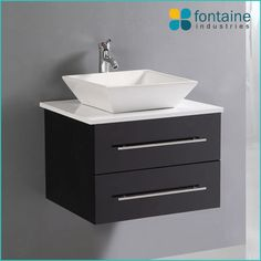 Picture Gallery Website Bathroom Vanity Black Wall Mounted Hung Ceramic Basin Stone Top Modern
