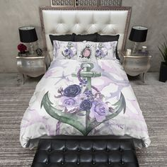 Green and Purple Anchor Rose Coral Starfish Nautical Duvet Bedding Sets