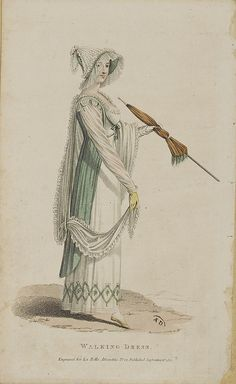 1811. English walking dress. What a hat! And drapey things!