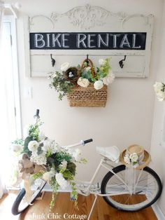 Old Bed Headboard And Bike Shabby Chic Decor