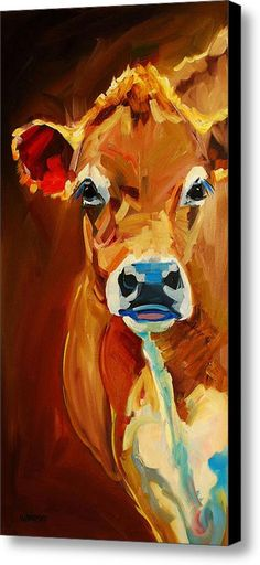 Peek Cow Canvas Print / Canvas Art By Diane Whitehead