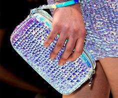Holographic iridescent style // galactic space age fashion forward // skirt and matching clutch purse Iridescent Fashion, Holographic Fashion, Holographic Bag, Fall Accessories, Fashion Accessories, Stella Mccartney Clutch, Chasing Unicorns, Retro Futuristic, Spring Trends