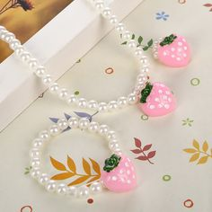 Pink Girls Strawberry Simulated Pearl Necklace Adjustable Finger Ring Cute Children Beads Jewelry Sets for Kids -in Jewelry Sets from Jewelry & Accessories on Aliexpress.com | Alibaba Group