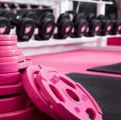 pink plates for future home gym